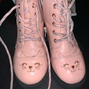 Pink kitty combat boots kids size 10